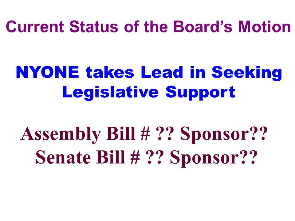 Current Status of the Board's Motion Assembly Bill # ?? Sponsor?? Senate Bill # ?? Sponsor?? NYONE takes Lead in Seeking Legislative Support