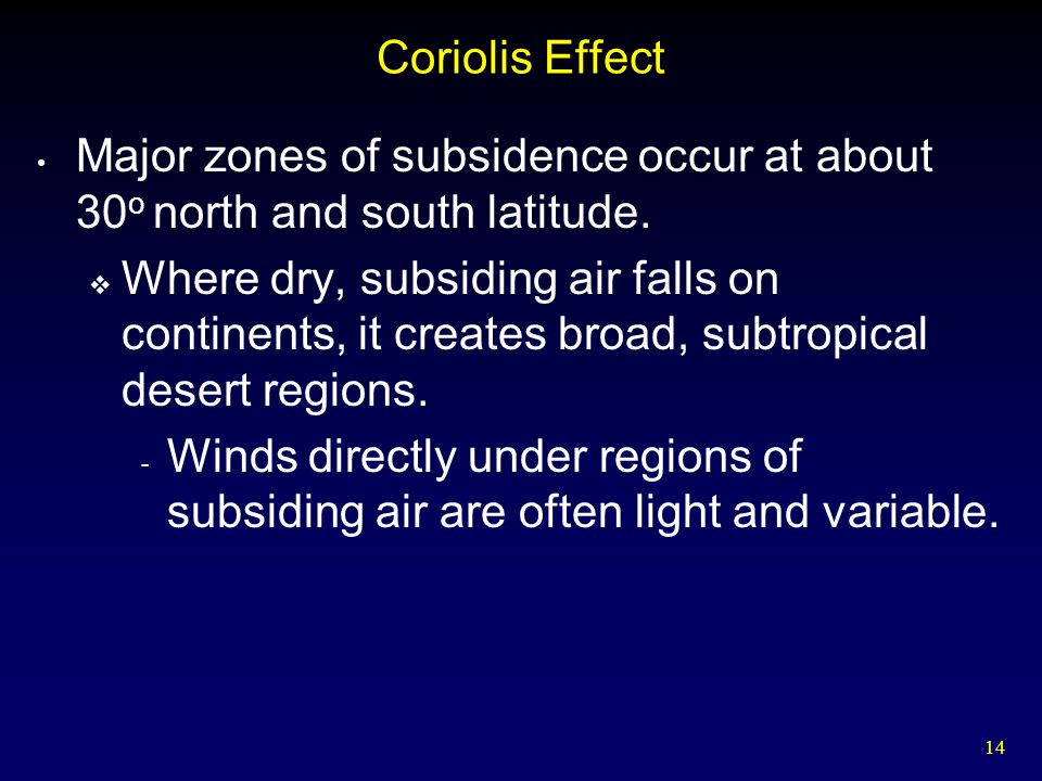 14 Coriolis Effect Major zones of subsidence occur at about 30 o north and south latitude.