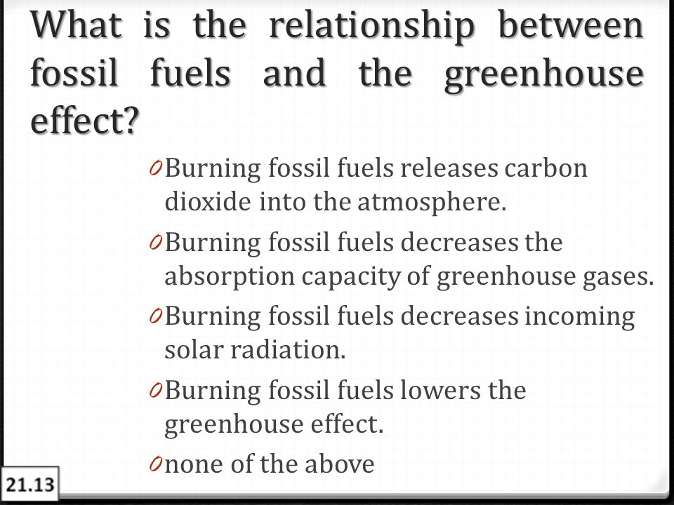 What is the relationship between fossil fuels and the greenhouse effect? 0 Burning fossil fuels releases carbon dioxide into the atmosphere. 0 Burning