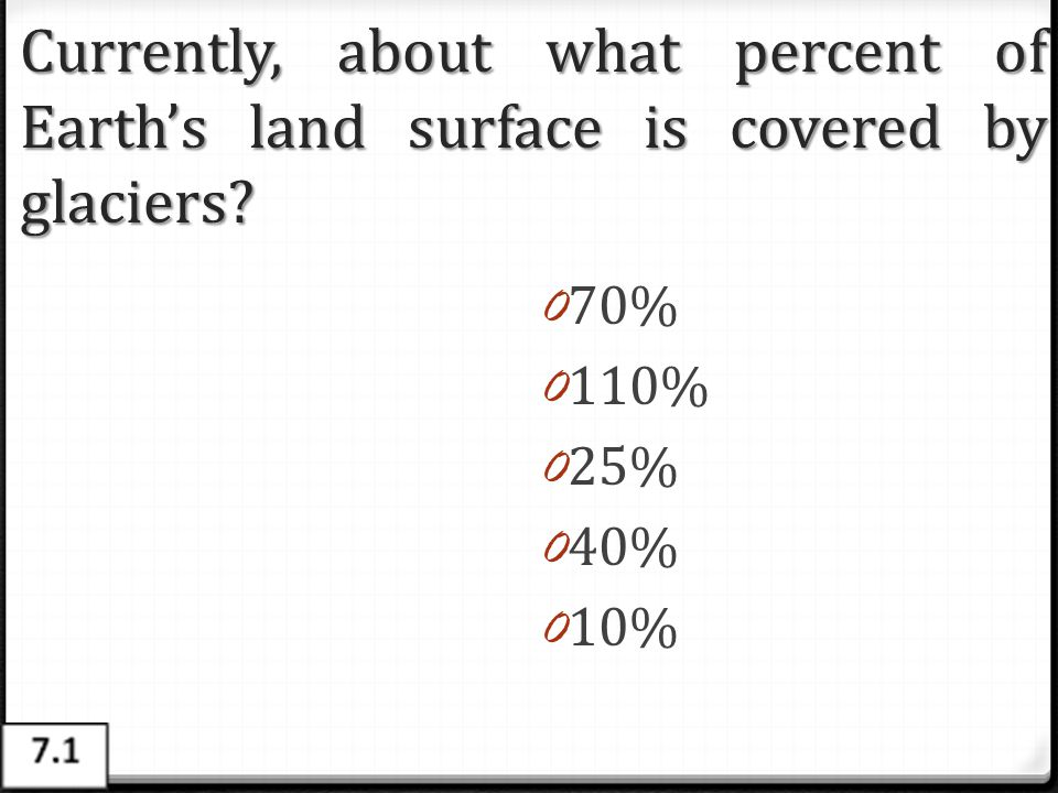 Currently, about what percent of Earth's land surface is covered by glaciers? 0 70% 0 110% 0 25% 0 40% 0 10%