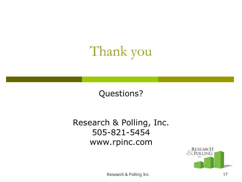 Research & Polling, Inc.17 Thank you Questions? Research & Polling, Inc. 505-821-5454 www.rpinc.com