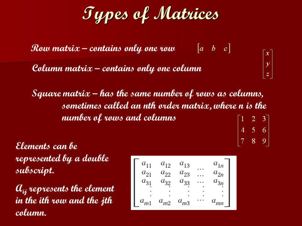 Row matrix – contains only one row Types of Matrices Column matrix – contains only one column Square matrix – has the same number of rows as columns,