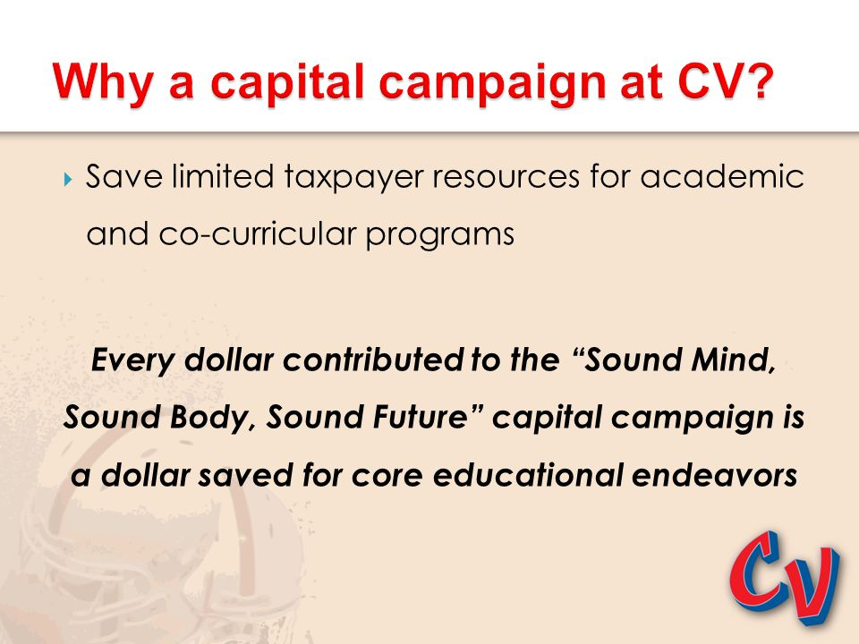 """ Save limited taxpayer resources for academic and co-curricular programs Every dollar contributed to the """"Sound Mind, Sound Body, Sound Future"""" capit"""