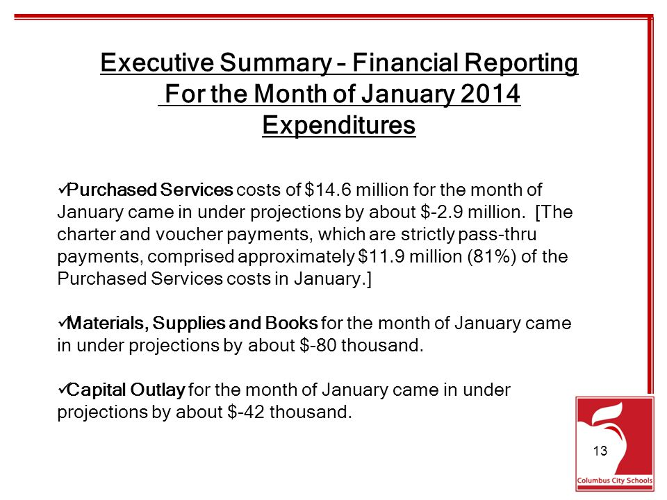 Purchased Services costs of $14.6 million for the month of January came in under projections by about $-2.9 million.