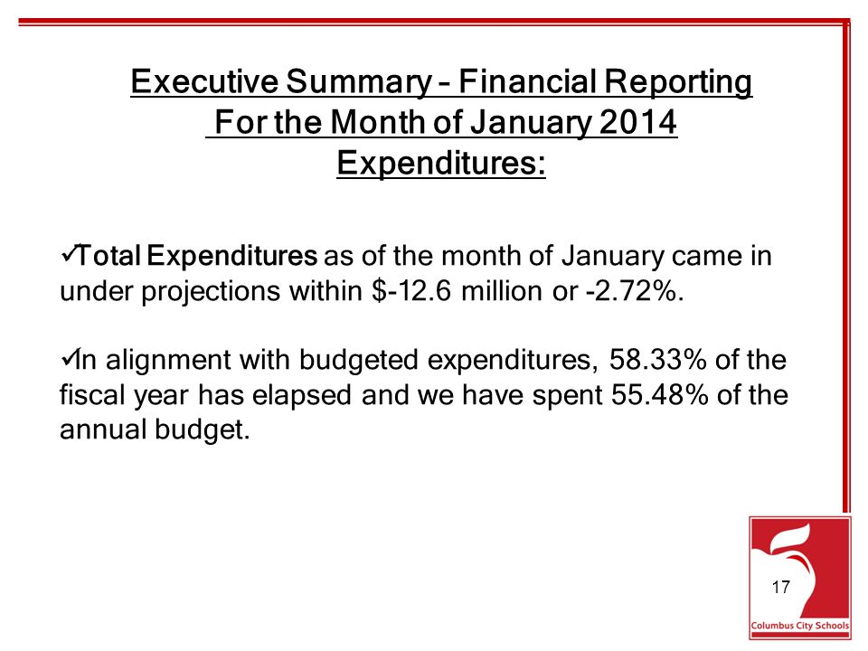 Total Expenditures as of the month of January came in under projections within $-12.6 million or -2.72%.
