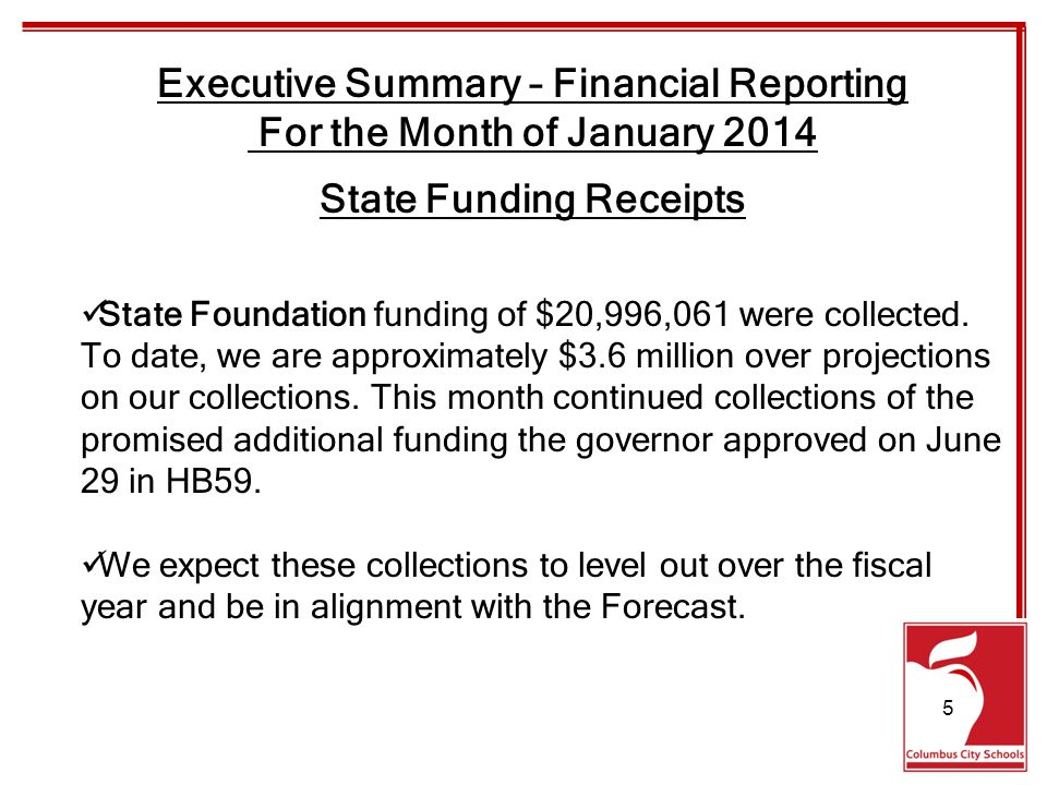 Executive Summary – Financial Reporting For the Month of January 2014 Receipts State Foundation$21,536,595$20,996,061-540,534 Monthly EstimateActualDifference $155,242,502$158,887,930$3,645,428 Year to Date EstimateActualDifference 6