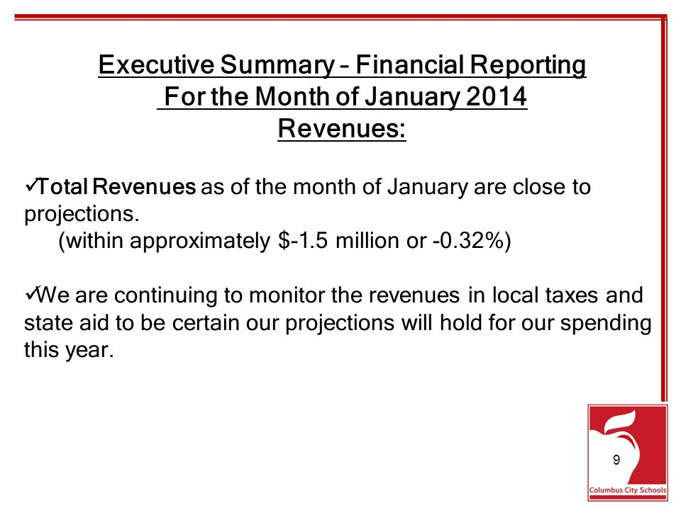 Total Revenues as of the month of January are close to projections.