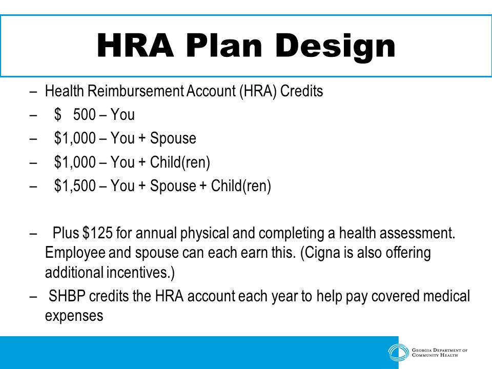 HRA Plan Design –Health Reimbursement Account (HRA) Credits –$ 500 – You –$1,000 – You + Spouse –$1,000 – You + Child(ren) –$1,500 – You + Spouse + Child(ren) – Plus $125 for annual physical and completing a health assessment.