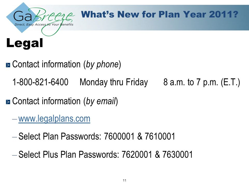February 2010 11 APRIL 2010 What's New for Plan Year 2011.