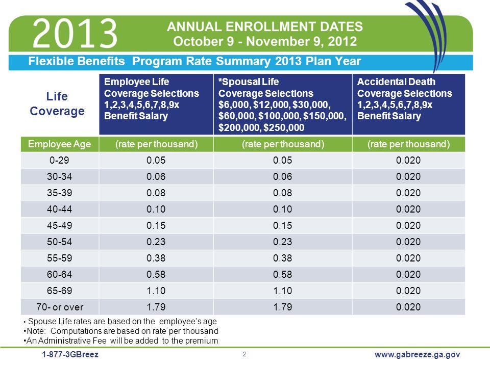 1-877-3GBreez 2 www.gabreeze.ga.gov Flexible Benefits Program Rate Summary 2013 Plan Year Employee Life Coverage Selections 1,2,3,4,5,6,7,8,9x Benefit
