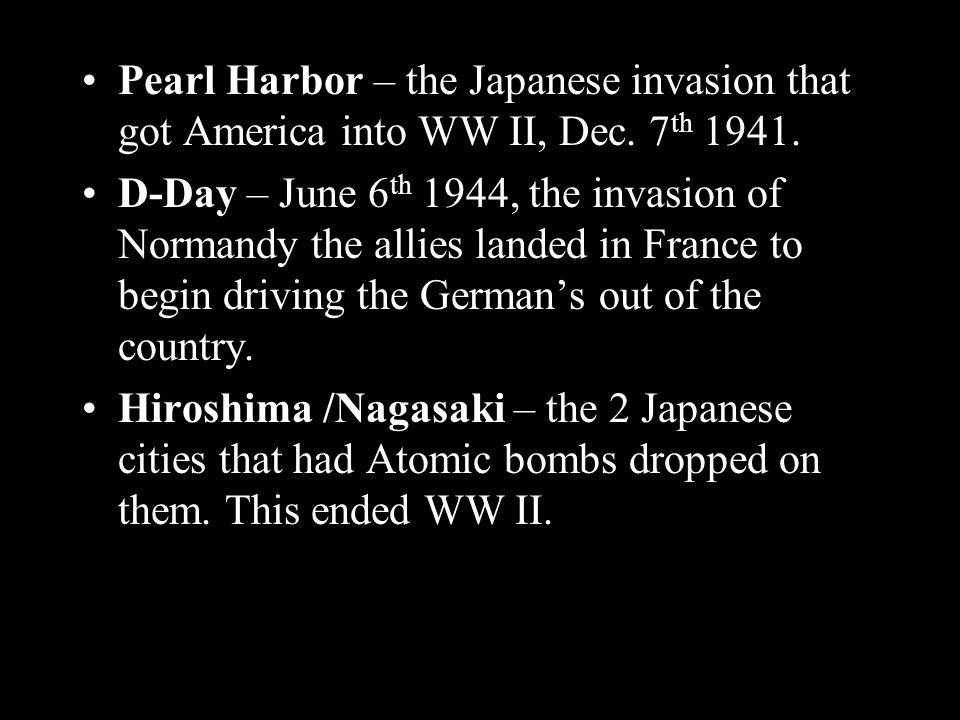 Pearl Harbor – the Japanese invasion that got America into WW II, Dec.