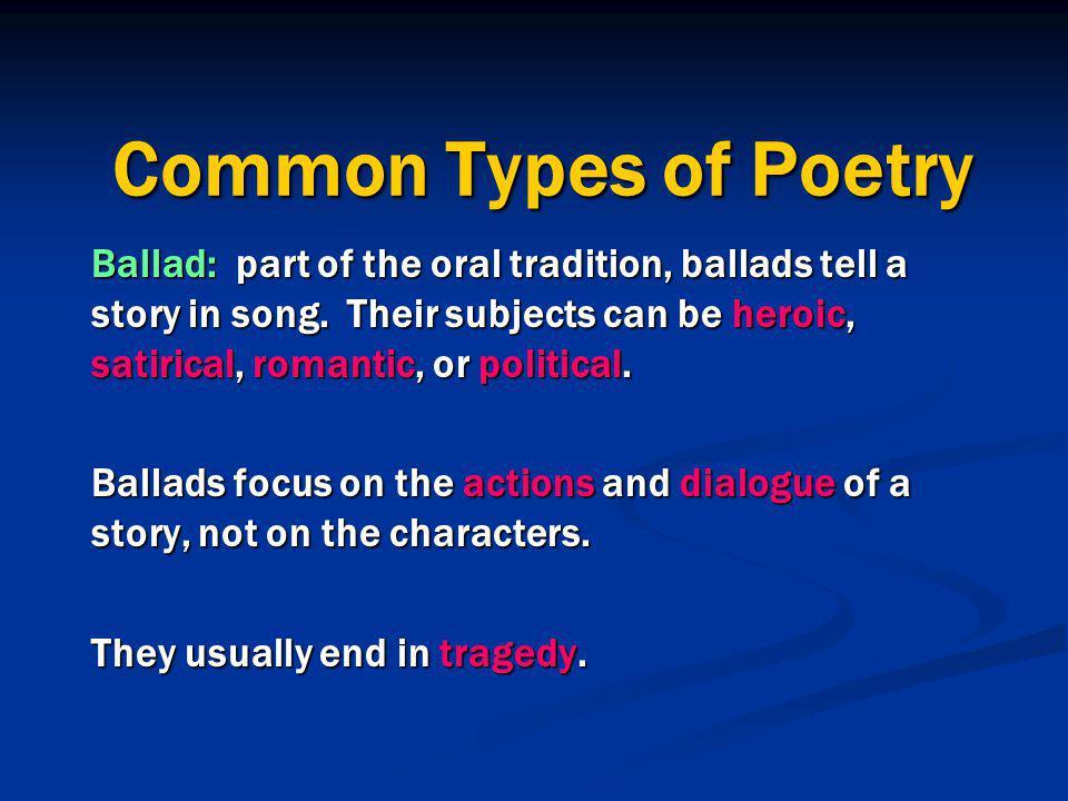 types of poets