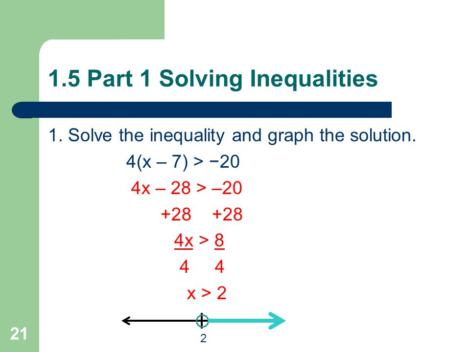 Graph x > 3. Graph 3 < x. Graph 4 < x. 1.5 Part 1 Solving Inequalities 20 3 3 4