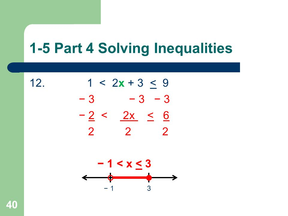 1-5 Part 3 Solving Inequalities Now try these problems on your own.