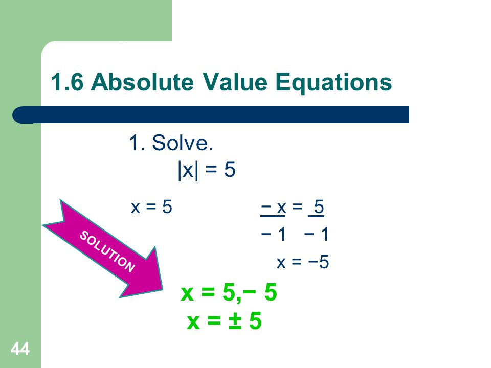 1.6 Absolute Value Equations To Solve Absolute Value Equations: 1.