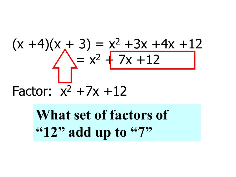 (x +4)(x + 3) = x 2 +3x +4x +12 = x 2 + 7x +12 Factor: x 2 +7x +12 What set of factors of 12 add up to 7