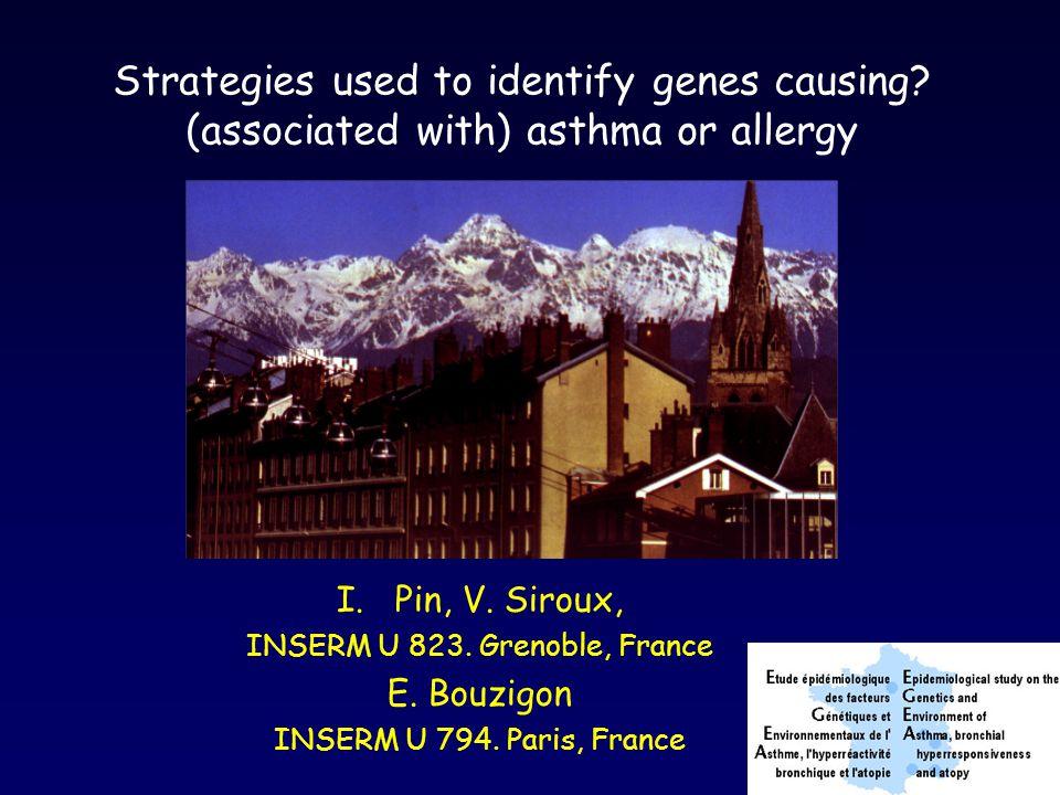 > 500 association studies of asthma phenotypes (Ober & Hoffjan 2006) 118 genes associated to asthma or atopy phenotypes 54 genes found in 2 to 5 independent studies 15 genes found in 6 to 10 independent studies 10 genes found in > 10 independent studies IL4, IL13, CD14, IL4RA, ADRB2, HLA-DRB1, HLA-DQB1, TNF, FCER1B, (ADAM33)