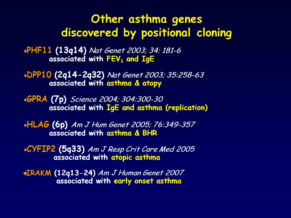 Other asthma genes discovered by positional cloning  PHF11 (13q14) Nat Genet 2003; 34: 181-6 associated with FEV 1 and IgE  DPP10 (2q14-2q32) Nat Genet 2003; 35:258-63 associated with asthma & atopy  GPRA (7p) Science 2004; 304:300-30 associated with IgE and asthma (replication)  HLAG (6p) Am J Hum Genet 2005; 76:349-357 associated with asthma & BHR  CYFIP2 (5q33) Am J Resp Crit Care Med 2005 associated with atopic asthma  IRAKM (12q13-24) Am J Human Genet 2007 associated with early onset asthma