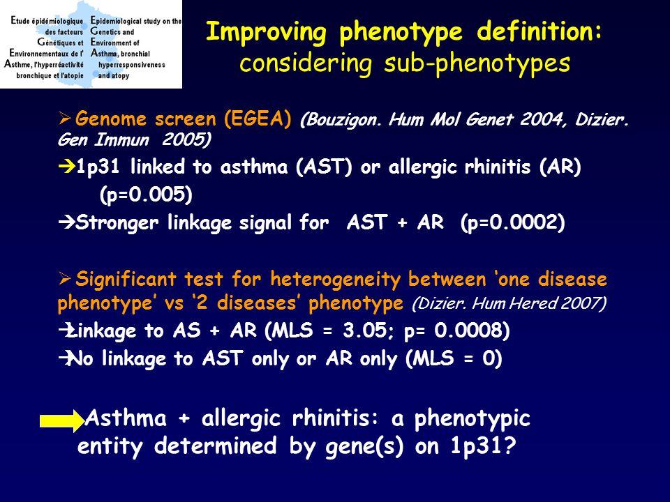 Improving phenotype definition: considering sub-phenotypes  Genome screen (EGEA) (Bouzigon.