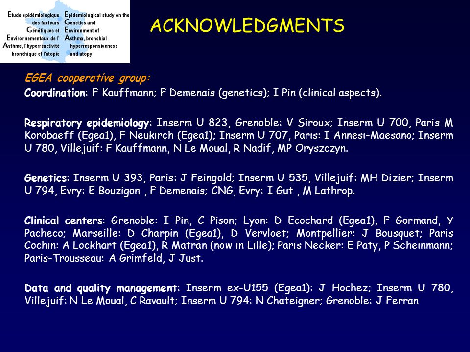 ACKNOWLEDGMENTS EGEA cooperative group: Coordination: F Kauffmann; F Demenais (genetics); I Pin (clinical aspects).
