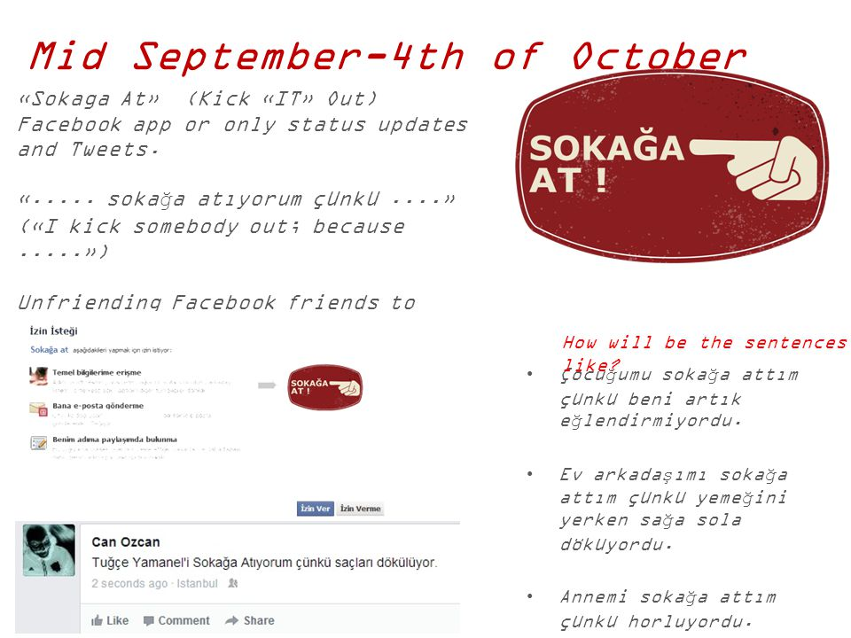Mid September-4th of October «Sokaga At» (Kick «IT» Out) Facebook app or only status updates and Tweets. «..... sokağa atıyorum çünkü....» («I kick so