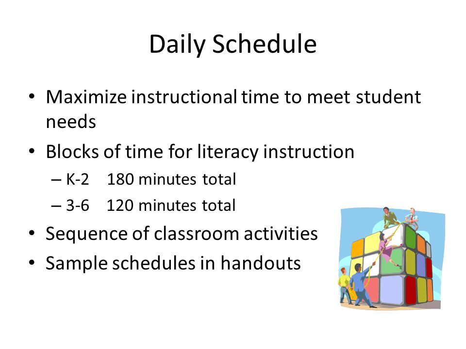 Daily Schedule Maximize instructional time to meet student needs Blocks of time for literacy instruction – K-2 180 minutes total – 3-6 120 minutes total Sequence of classroom activities Sample schedules in handouts