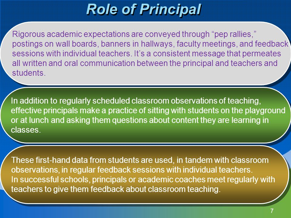 7 Role of Principal Rigorous academic expectations are conveyed through pep rallies, postings on wall boards, banners in hallways, faculty meetings, and feedback sessions with individual teachers.