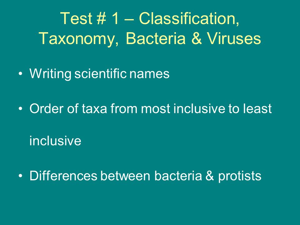 Test # 1 Continued Determining evolutionary relationships Viral structure Bacterial cell structure Cell wall composition