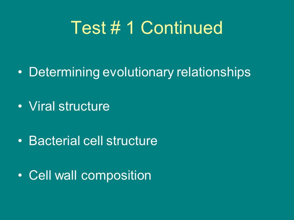 Test # 1 Continued Bacterial Environments General Characteristics of: –Kingdom Archaebacteria –Kingdom Eubacteria –Kingdom Protista –Kingdom Fungi
