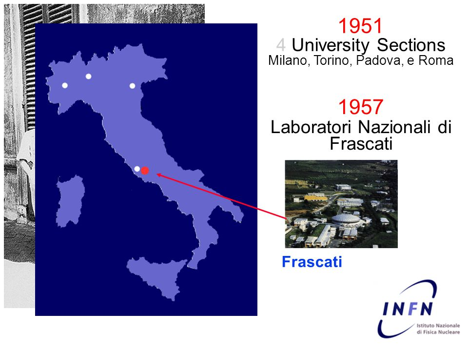 First Frascati's idea The non-interacting particles can be re-used in the successive rounds Collisions are performed in the center of mass frame The circulating particles can be either elementary or complex (nuclei or atoms) detector Accumulation ring Bruno Touschek