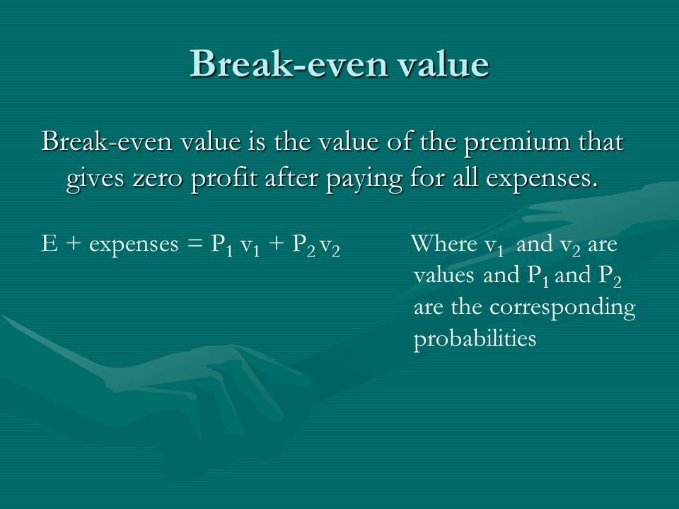 Break-even value Break-even value is the value of the premium that gives zero profit after paying for all expenses.