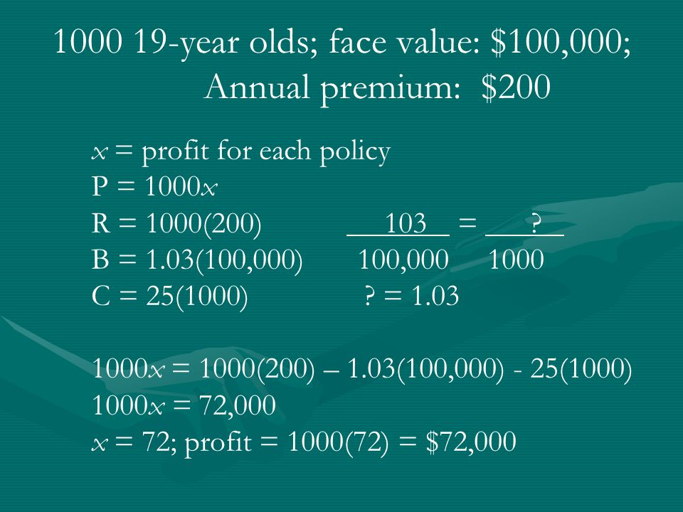 1000 19-year olds; face value: $100,000; Annual premium: $200 x = profit for each policy P = 1000x R = 1000(200) 103 = .