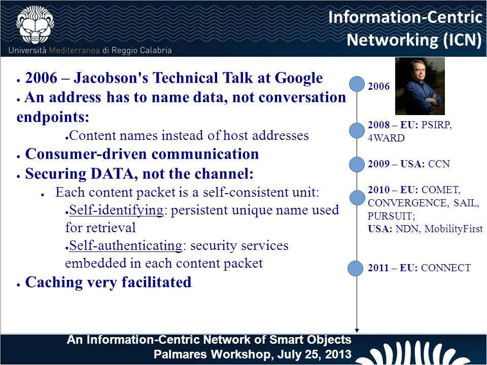 ● 2006 – Jacobson s Technical Talk at Google ● An address has to name data, not conversation endpoints: ● Content names instead of host addresses ● Consumer-driven communication ● Securing DATA, not the channel: ● Each content packet is a self-consistent unit: ● Self-identifying: persistent unique name used for retrieval ● Self-authenticating: security services embedded in each content packet ● Caching very facilitated Information-Centric Networking (ICN) An Information-Centric Network of Smart Objects Palmares Workshop, July 25, 2013 2006 2008 – EU: PSIRP, 4WARD 2009 – USA: CCN 2010 – EU: COMET, CONVERGENCE, SAIL, PURSUIT; USA: NDN, MobilityFirst 2011 – EU: CONNECT