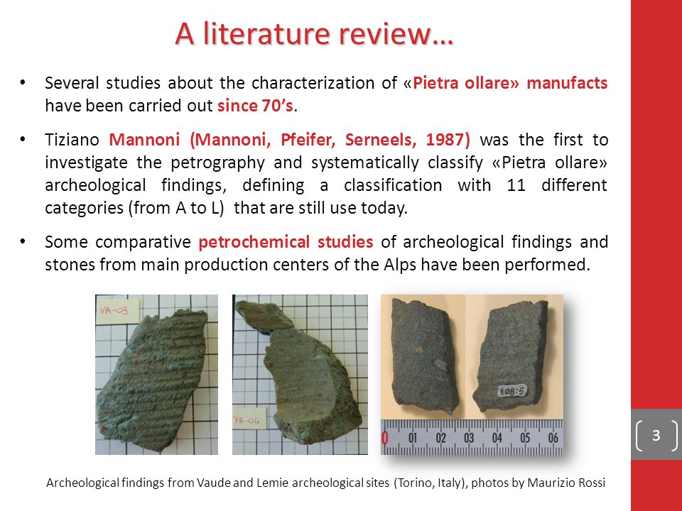 1) Mannoni's classification is a useful tool but not enough detailed 4) It's possible to associate a finding to a quarry in a local production system when quarries and settlements are within few km distance 5) The correlation between petrographic, geochemical and archeological analyses could be a possible way 3) Classification and provenance studies, that have been carried out since today, do not allow to univocally associate findings to quarries 2) Pietra ollare lithotypes are very common in Western and Central Alps.