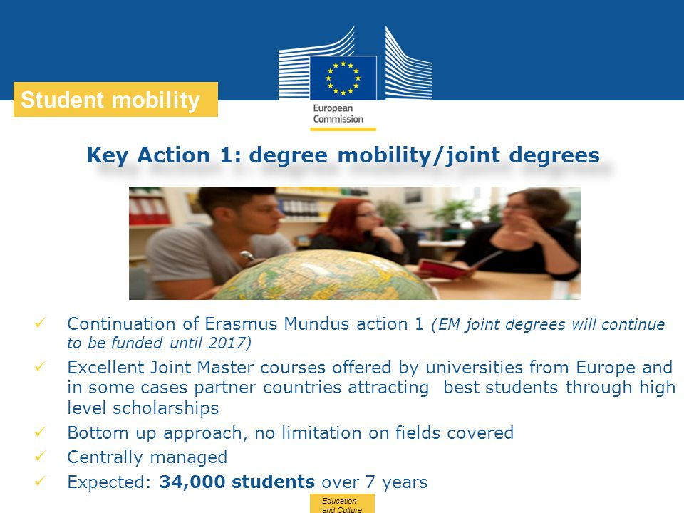 Date: in 12 pts Education and Culture … in other words Student mobility Key Action 1: degree mobility/joint degrees Continuation of Erasmus Mundus act