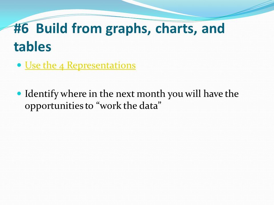 """#6 Build from graphs, charts, and tables Use the 4 Representations Identify where in the next month you will have the opportunities to """"work the data"""""""