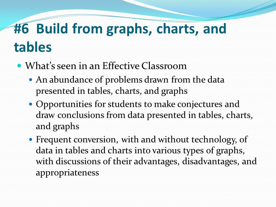 #6 Build from graphs, charts, and tables What's seen in an Effective Classroom An abundance of problems drawn from the data presented in tables, chart