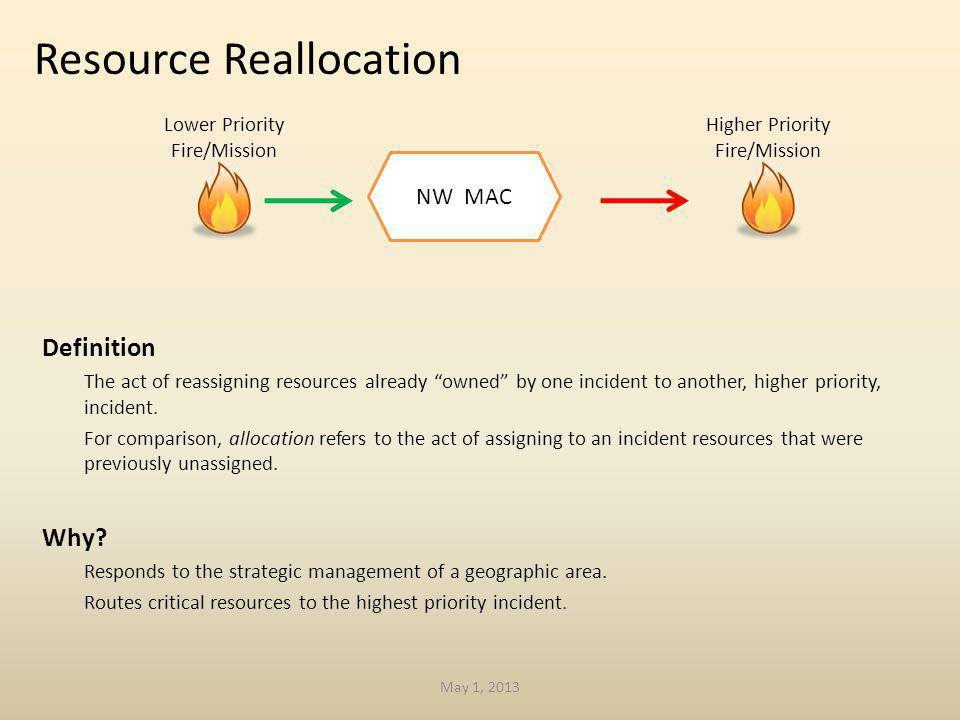Definition The act of reassigning resources already owned by one incident to another, higher priority, incident.