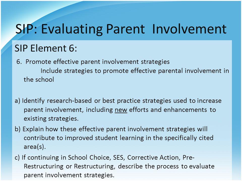 SIP: Evaluating Parent Involvement SIP Element 6: 6.