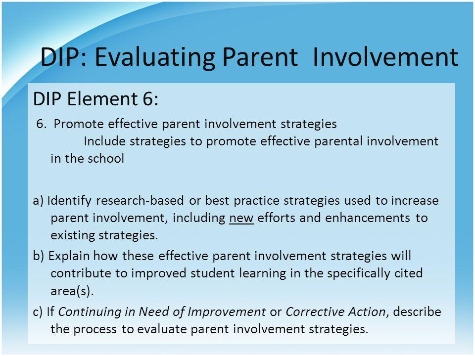 DIP: Evaluating Parent Involvement DIP Element 6: 6.