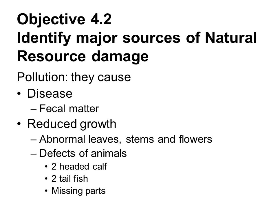 Objective 4.2 Identify major sources of Natural Resource damage Pollution: they cause Disease –Fecal matter Reduced growth –Abnormal leaves, stems and flowers –Defects of animals 2 headed calf 2 tail fish Missing parts