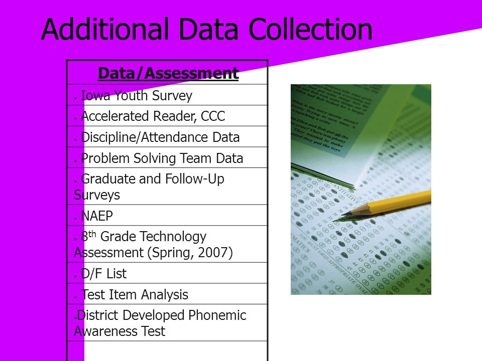 Additional Data Collection Data/Assessment Iowa Youth Survey Accelerated Reader, CCC Discipline/Attendance Data Problem Solving Team Data Graduate and Follow-Up Surveys NAEP 8 th Grade Technology Assessment (Spring, 2007) D/F List Test Item Analysis District Developed Phonemic Awareness Test