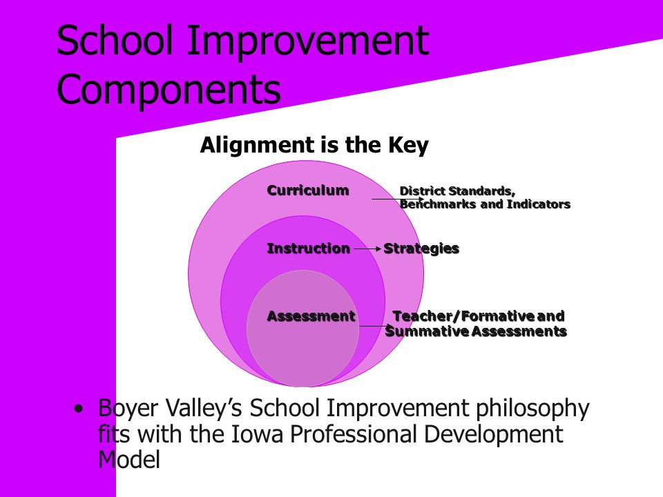 School Improvement Components Boyer Valley's School Improvement philosophy fits with the Iowa Professional Development Model Alignment is the Key Curriculum District Standards, Benchmarks and Indicators Benchmarks and Indicators Instruction Strategies Assessment Teacher/Formative and Summative Assessments Summative Assessments