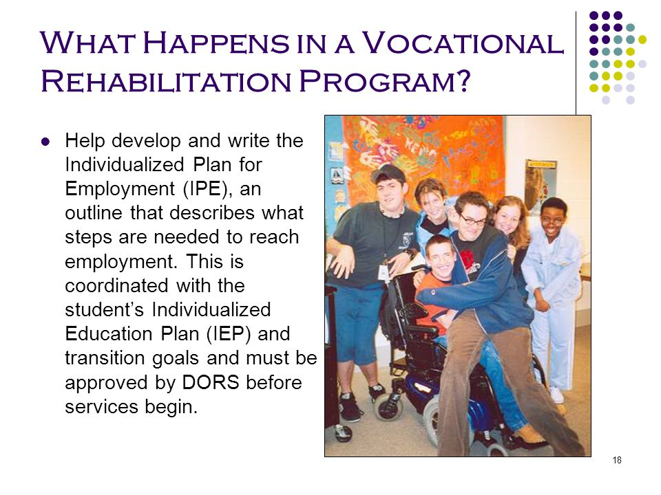 18 What Happens in a Vocational Rehabilitation Program? Help develop and write the Individualized Plan for Employment (IPE), an outline that describes