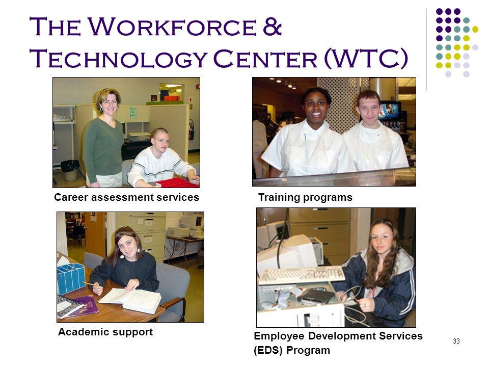 33 The Workforce & Technology Center (WTC) Training programsCareer assessment services Academic support Employee Development Services (EDS) Program