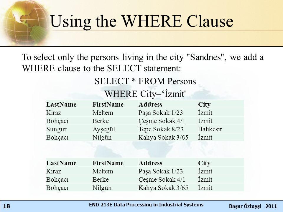 18 Başar Öztayşi 2011 END 213E Data Processing in Industrial Systems Using the WHERE Clause To select only the persons living in the city Sandnes , we add a WHERE clause to the SELECT statement: SELECT * FROM Persons WHERE City='İzmit LastNameFirstNameAddressCity KirazMeltemPaşa Sokak 1/23İzmit BohçacıBerkeÇeşme Sokak 4/1İzmit SungurAyşegülTepe Sokak 8/23Balıkesir BohçacıNilgünKahya Sokak 3/65İzmit LastNameFirstNameAddressCity KirazMeltemPaşa Sokak 1/23İzmit BohçacıBerkeÇeşme Sokak 4/1İzmit BohçacıNilgünKahya Sokak 3/65İzmit