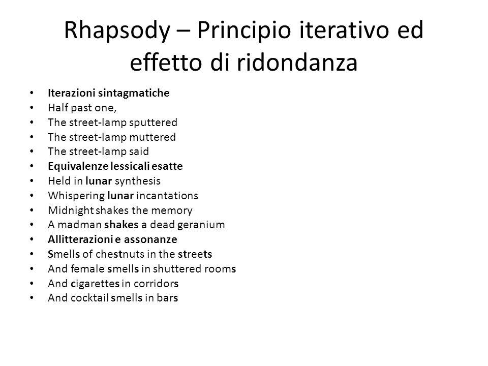 Rhapsody – Principio iterativo ed effetto di ridondanza Iterazioni sintagmatiche Half past one, The street-lamp sputtered The street-lamp muttered The