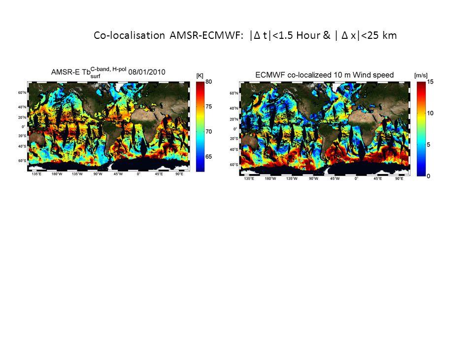 Co-localisation AMSR-ECMWF: |Δ t|<1.5 Hour & | Δ x|<25 km