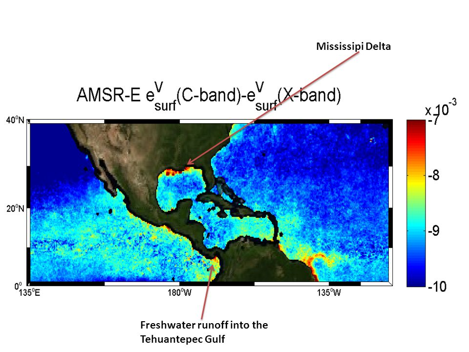 Mississipi Delta Freshwater runoff into the Tehuantepec Gulf