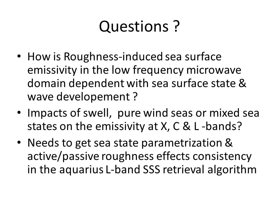 Mean Roughness induced emissivity residuals as function of surface wind speed & total significant wave-height